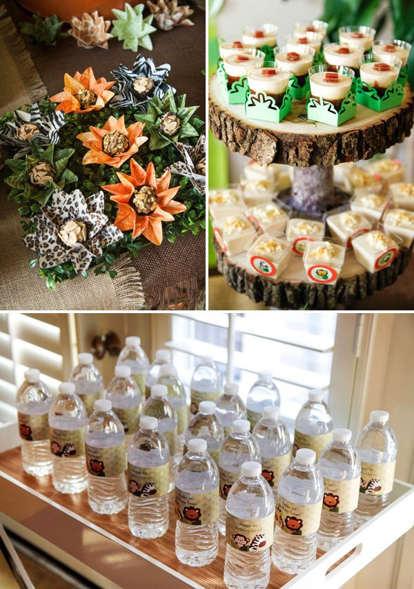 jungle safari themed desserts and bottle wraps