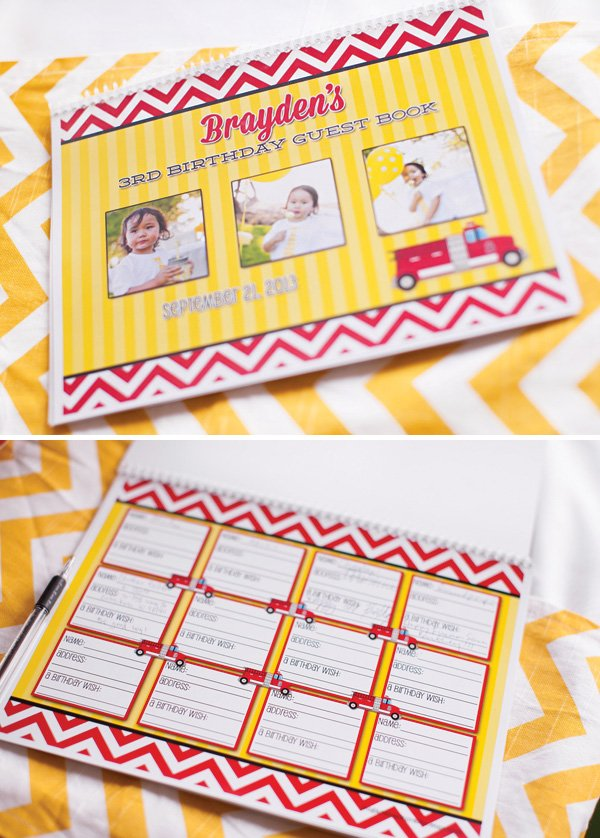 kids birthday party guest book - firetruck theme