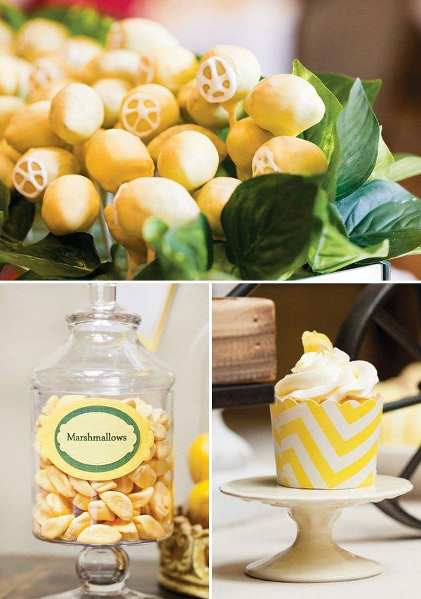 lemon dessert buffet - lemon cake pops, marshmallows and cupcakes