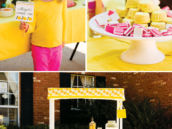 pink and yellow lemonade stand themed birthday party
