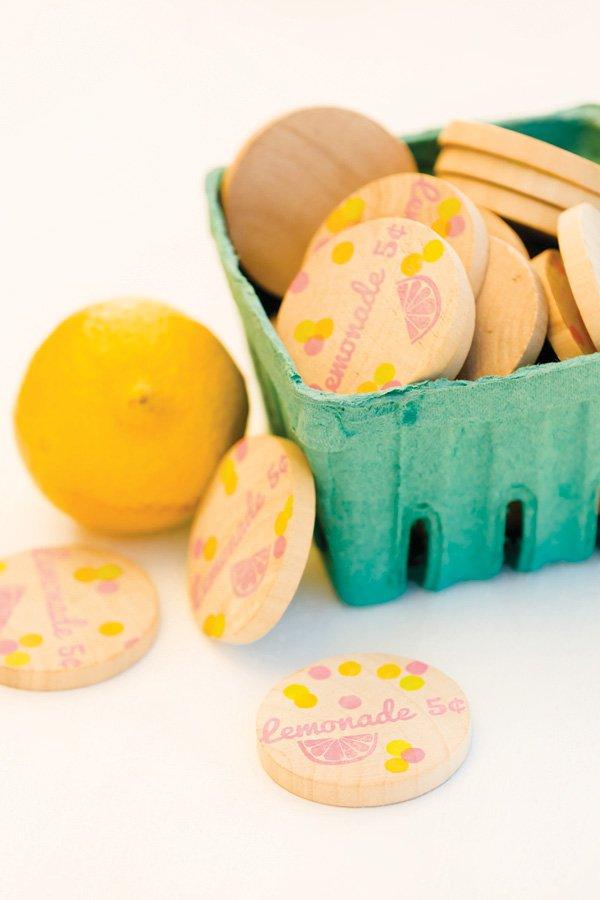 wooden lemonade tokens