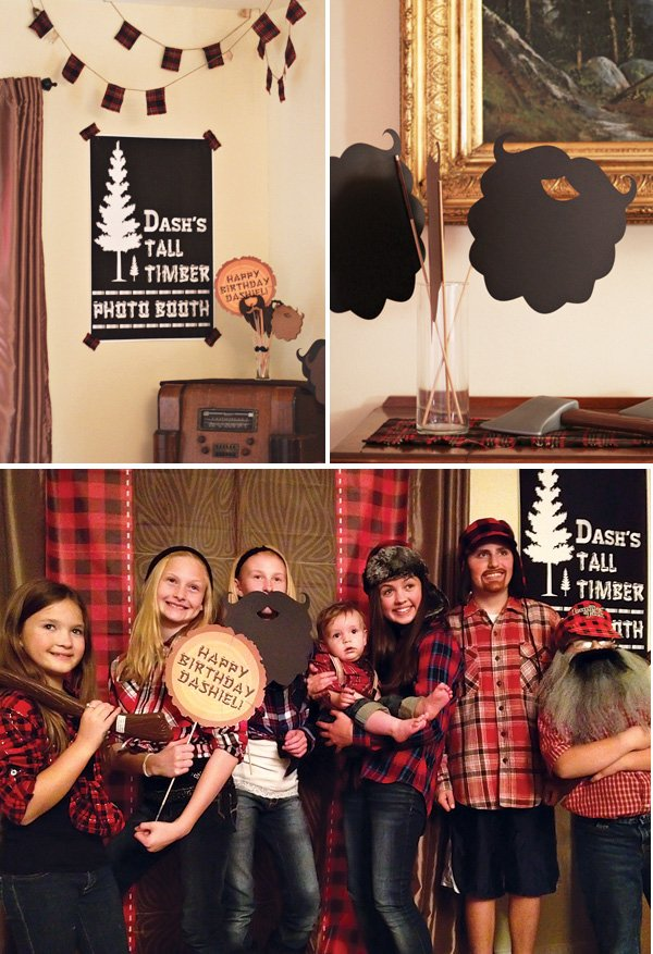 lumberjack and plaid party photo booth