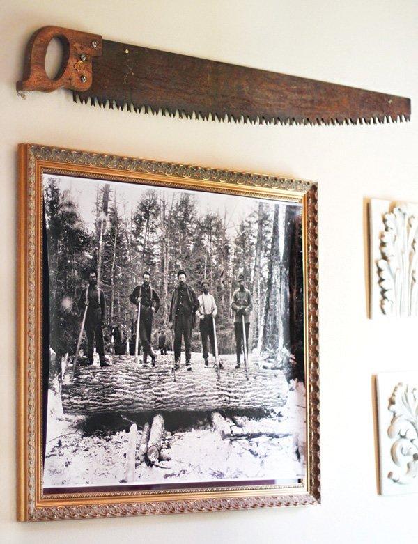 lumberjack photo and saw decor