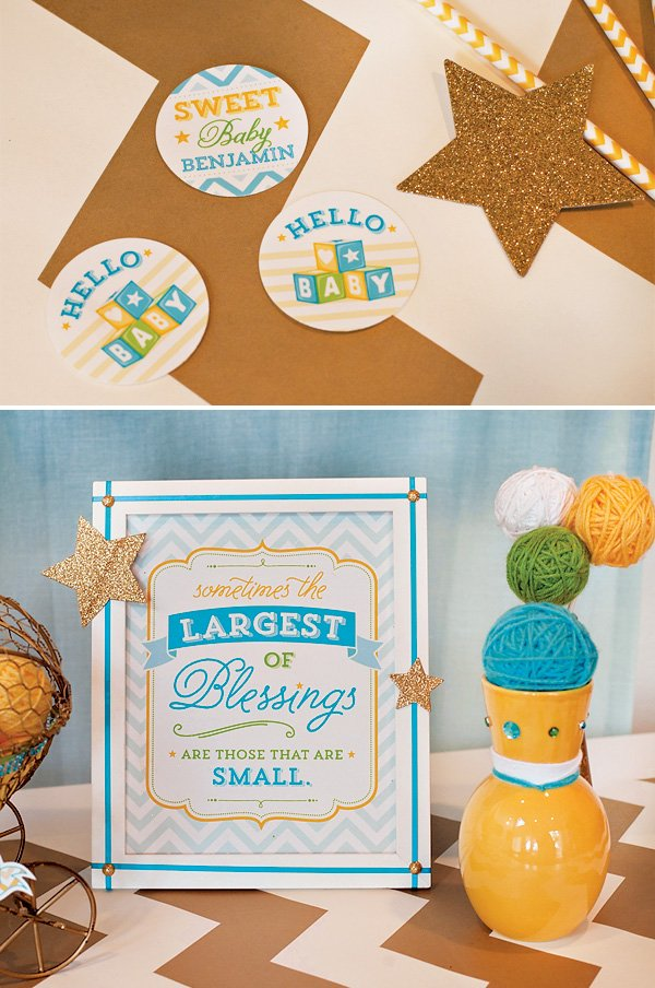 blue gold baby shower decorations - party circles and sign