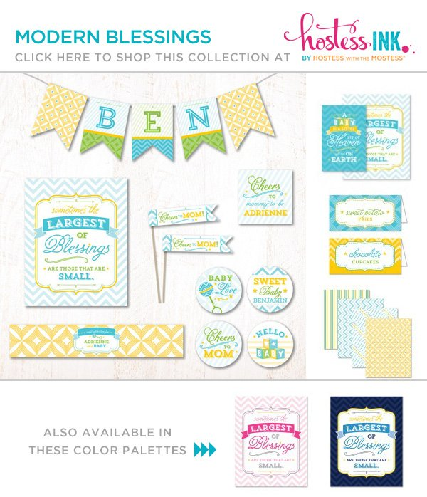 baby shower party collection - modern blessings hostess ink