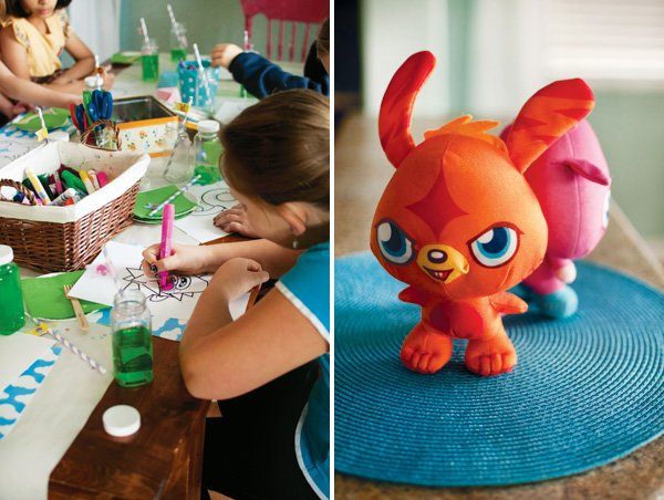 moshi monster plush character and mask coloring party activity