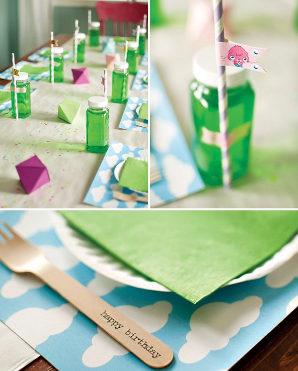 moshi monster clouds and green tablescape