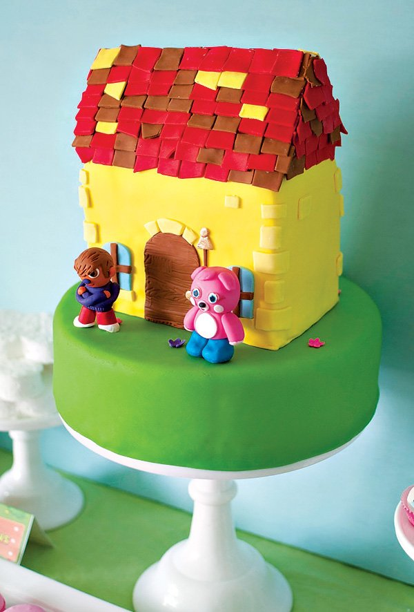 moshi monsters house and character topped birthday cake