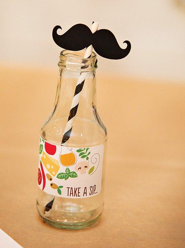 mustache paper straw and milk bottle