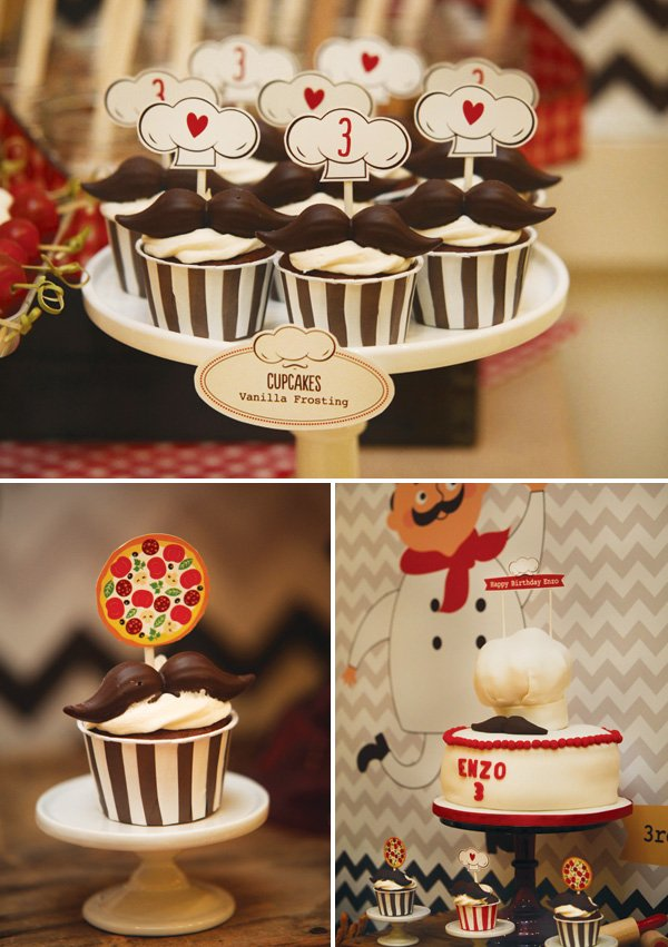 mustache topped cupcakes and cake