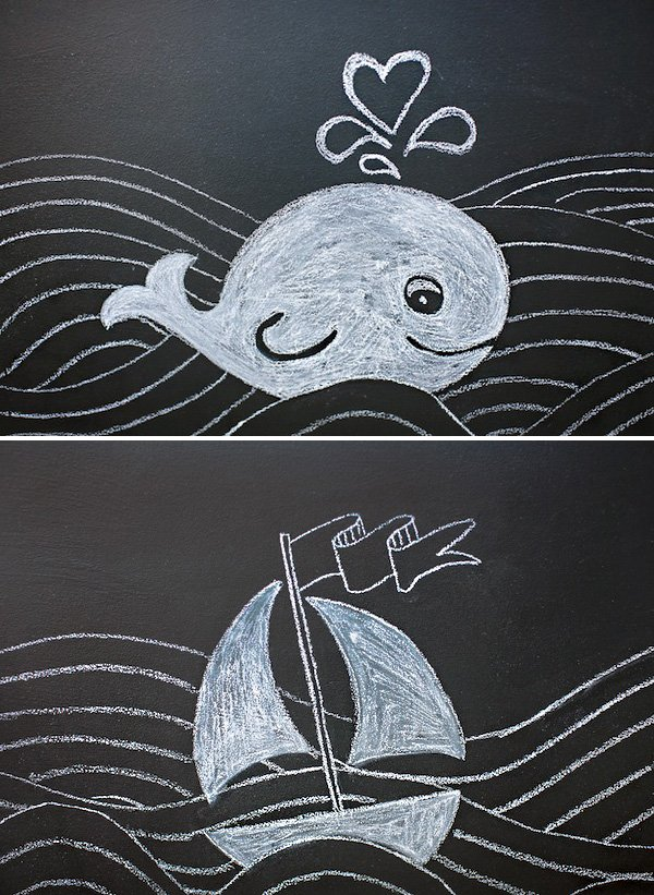 nautical chalkboard sailboat and whale