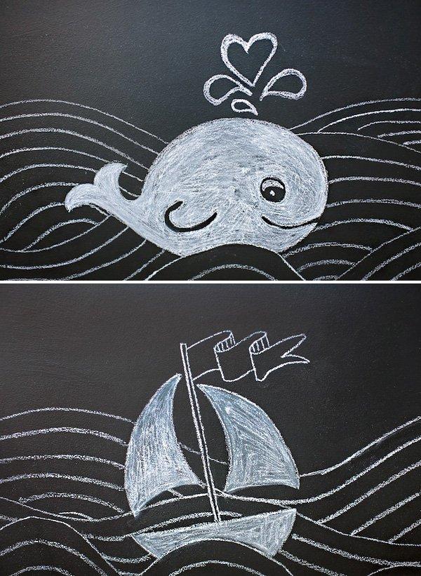 nautical chalkboard sailboat and whale