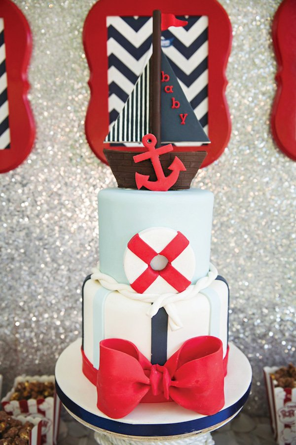 ship topped nautical baby shower cake