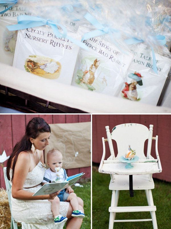 nursery rhyme book party favors and reading