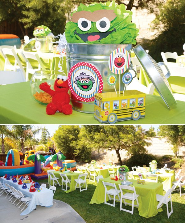 Sesame Street Party Printables Oscar The Grouch Table Decor And Centerpieces
