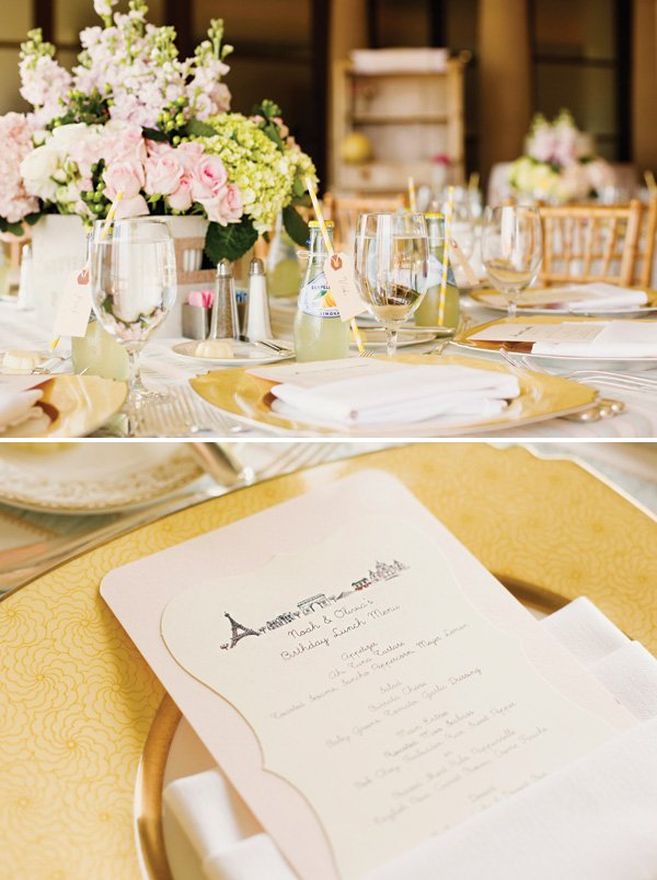 parisian invitation and romantic tablescape