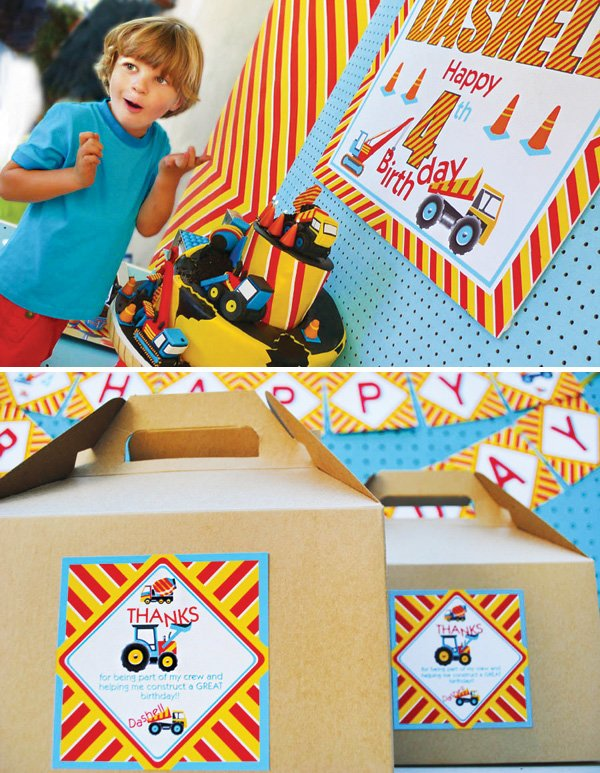 party favor boxes and construction birthday cake