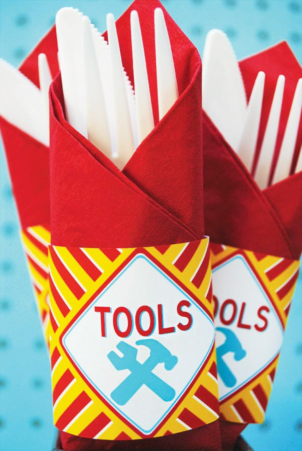 napkin wraps for construction tool utensils