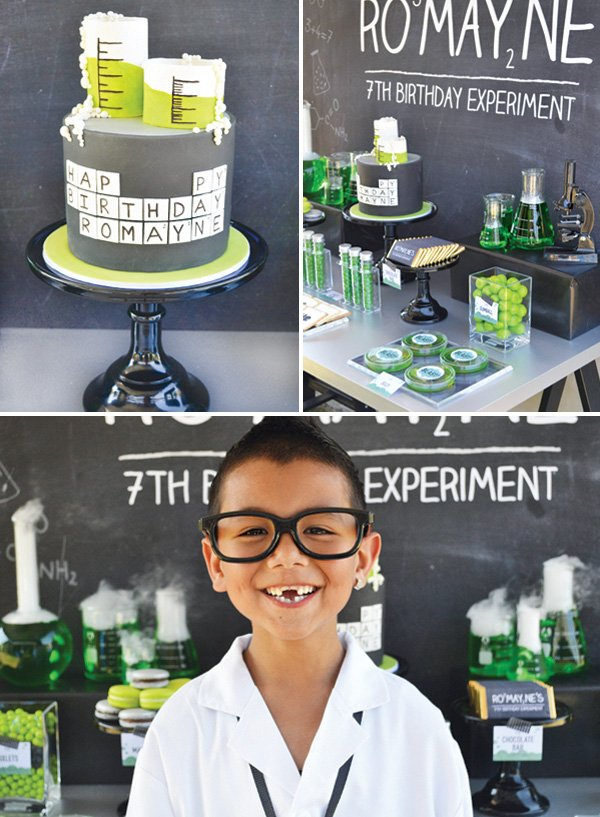 awesome periodic table cake topped with bubbling beakers and the adorable birthday boy