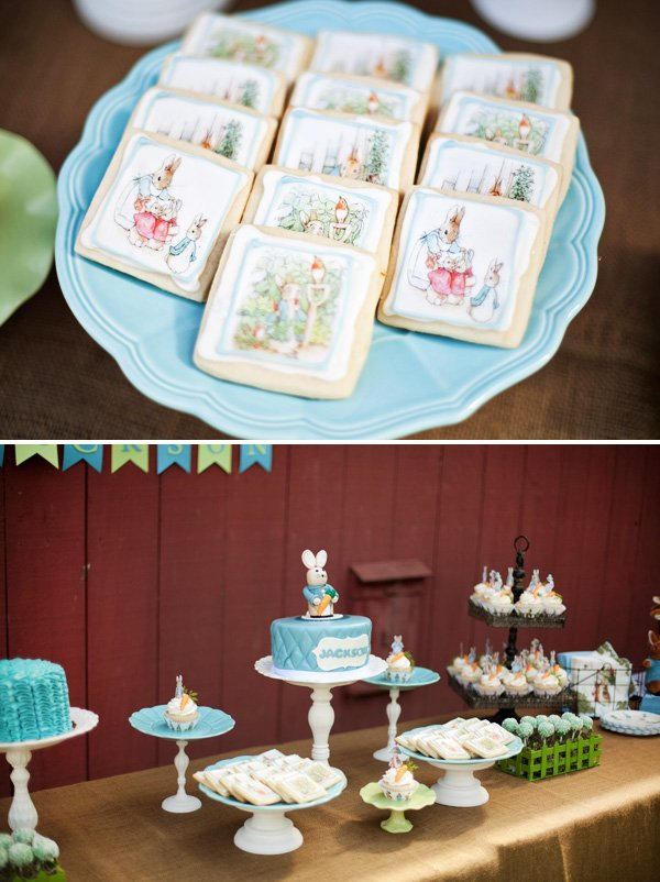 peter rabbit desserts table including painted cookies