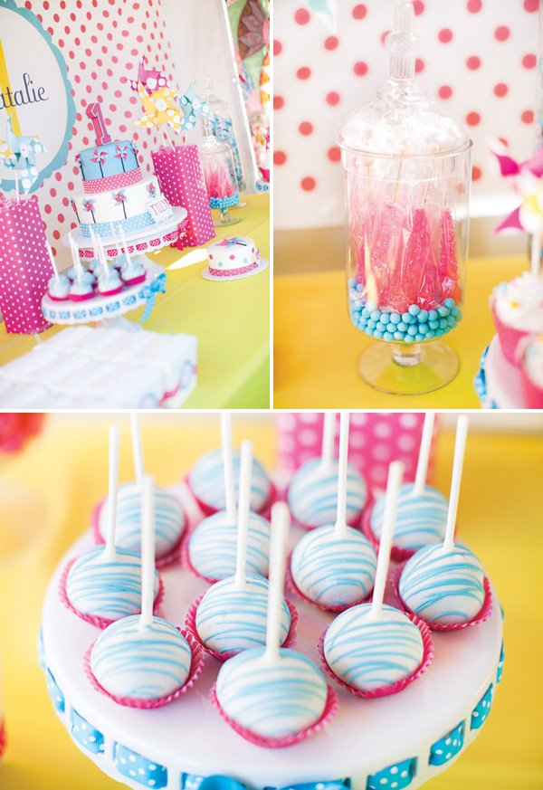 pink, yellow and blue birthday party desserts