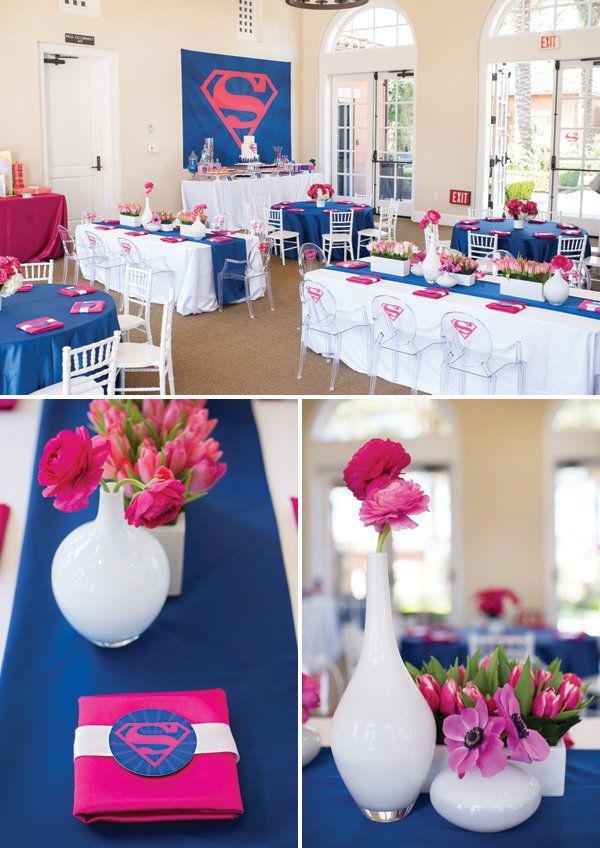 Pink And Blue Superman Party Tables