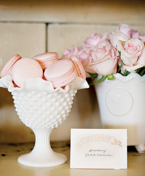 pink parisian macarons and roses