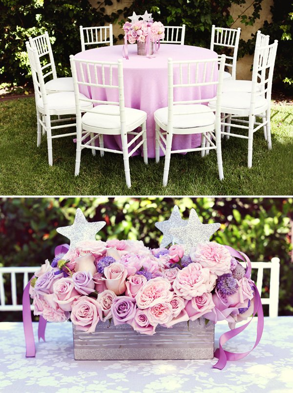 pink and purple roses centerpiece