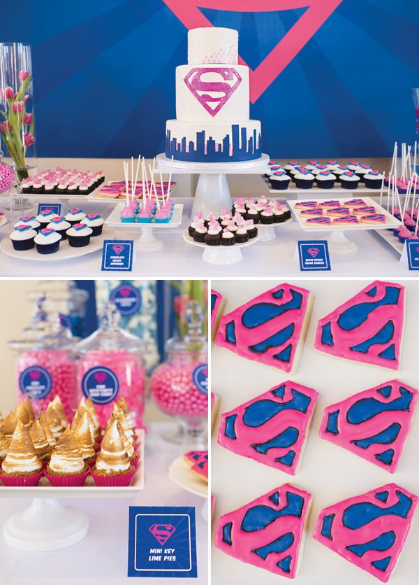 Incredible Fantastic Pink Blue Supergirl Birthday Party Hostess With The Funny Birthday Cards Online Elaedamsfinfo