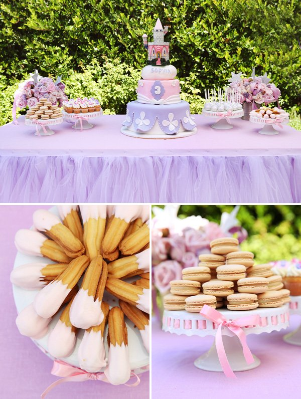 pink and purple princess dessert table