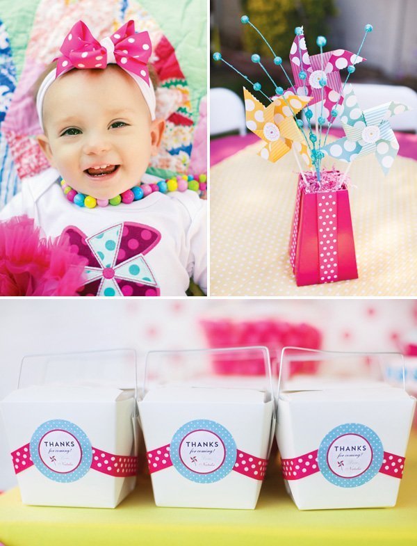 pinwheel themed girl's first birthday party