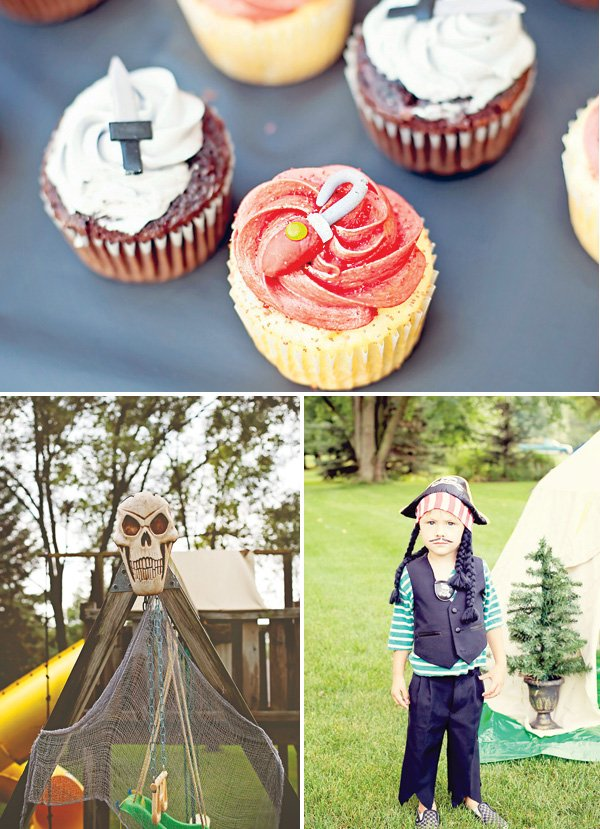 captain hook costume and cupcakes