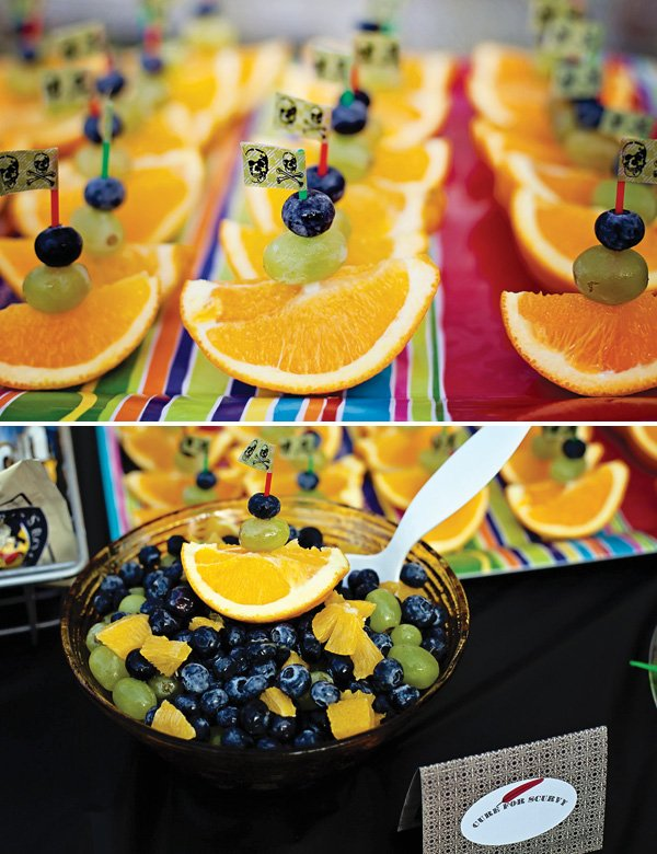 pirate ship fruit skewers