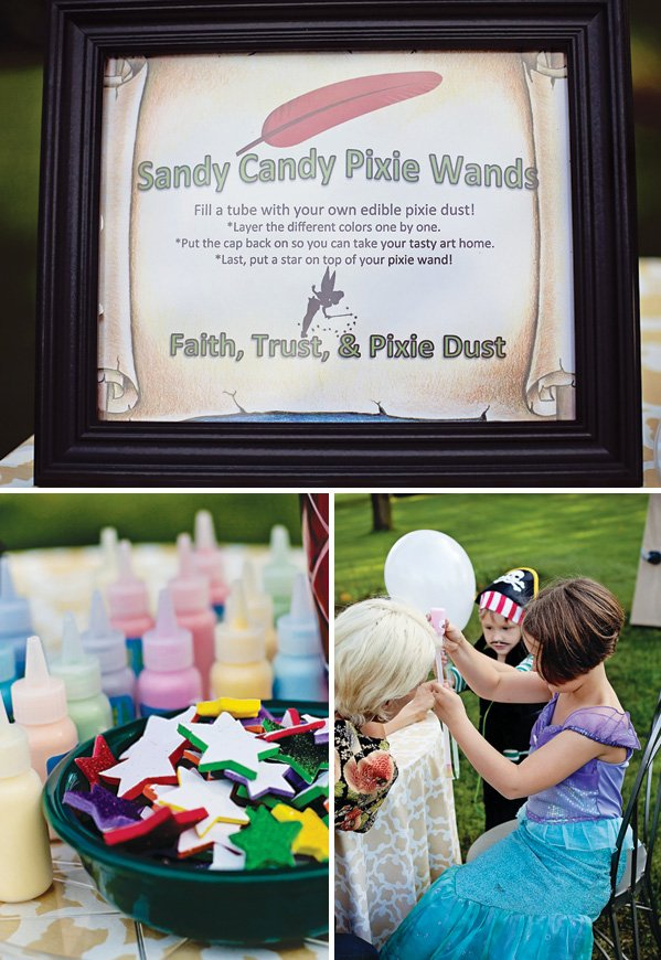 making fairy wands out of pixie dust for a peter pan birthday activity