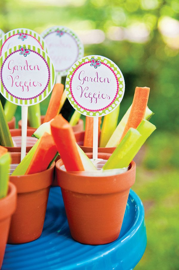 potted plant vegetable dip party appetizers