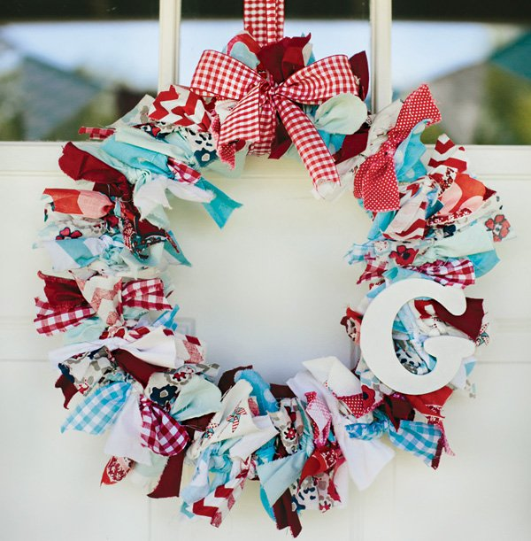 red and blue rag tie door wreath