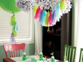 green and rainbow moshi monster party tablescape