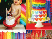 rainbow hearts birthday party