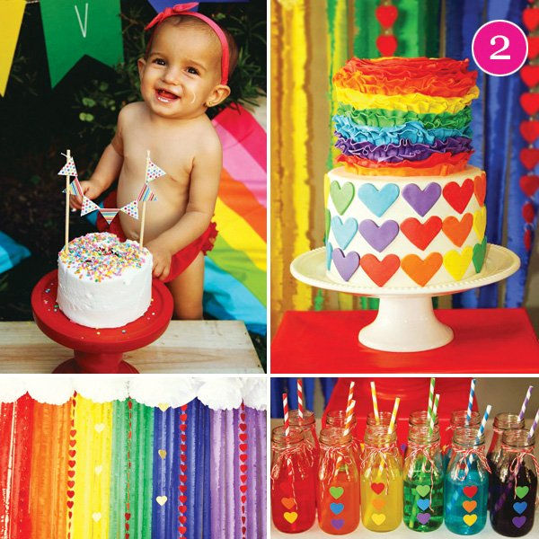rainbow hearts birthday party
