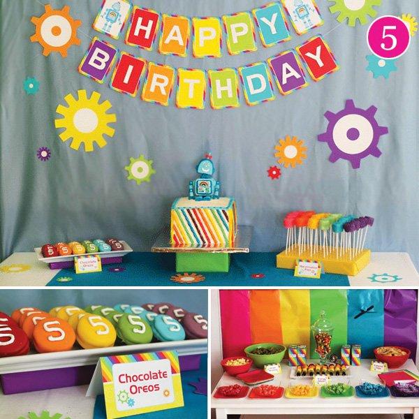 rainbow robot birthday party