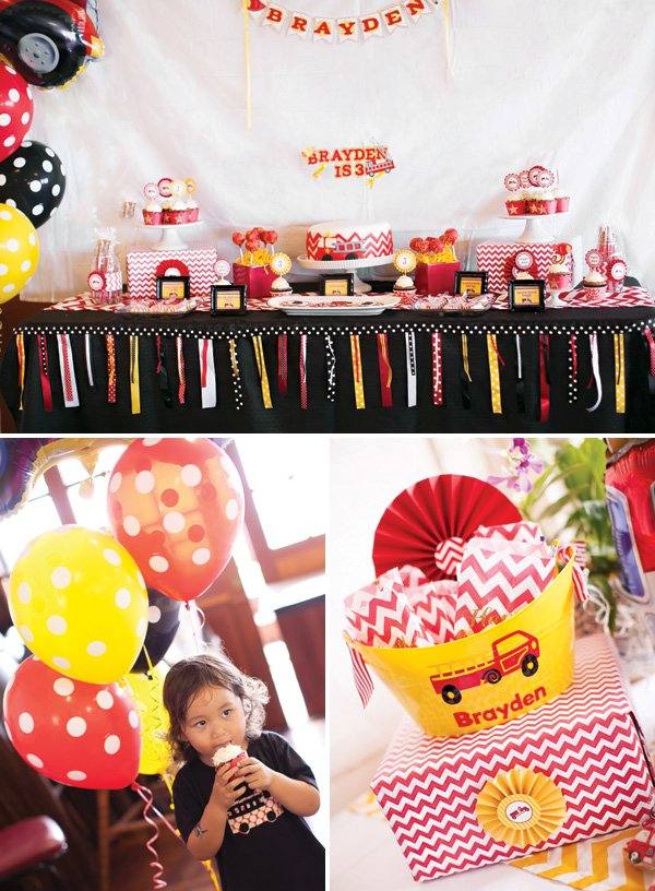 red and yellow fire truck birthday party decorations