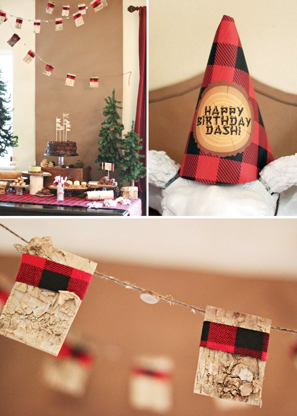 red buffalo plaid wrapped garland and party hats