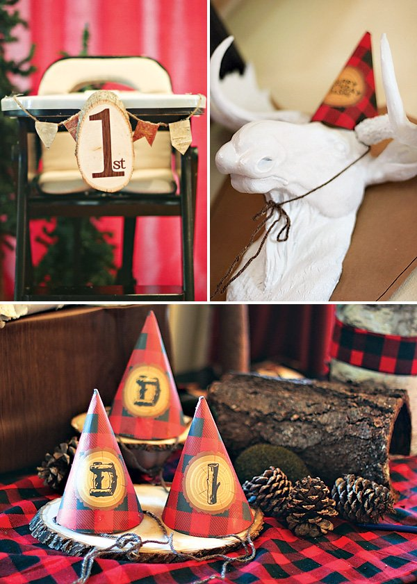 red buffalo plaid lumberjack party decor
