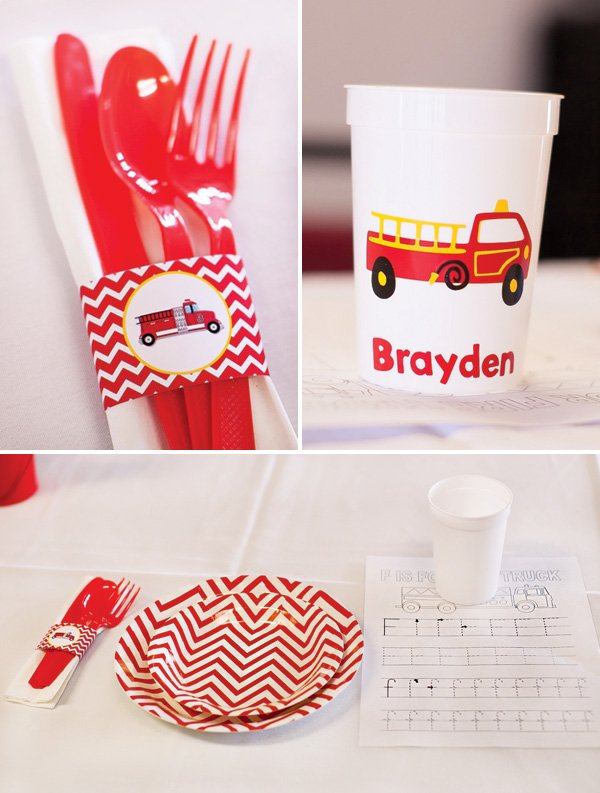 red chevron striped fire truck tablescape