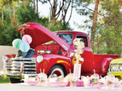 vintage red truck party