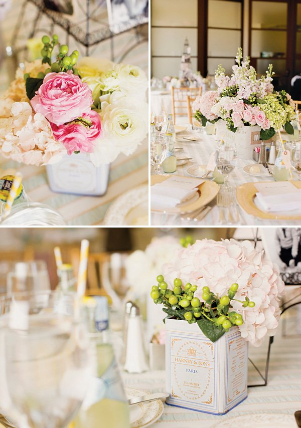 pink rose and hydrangea french party centerpieces