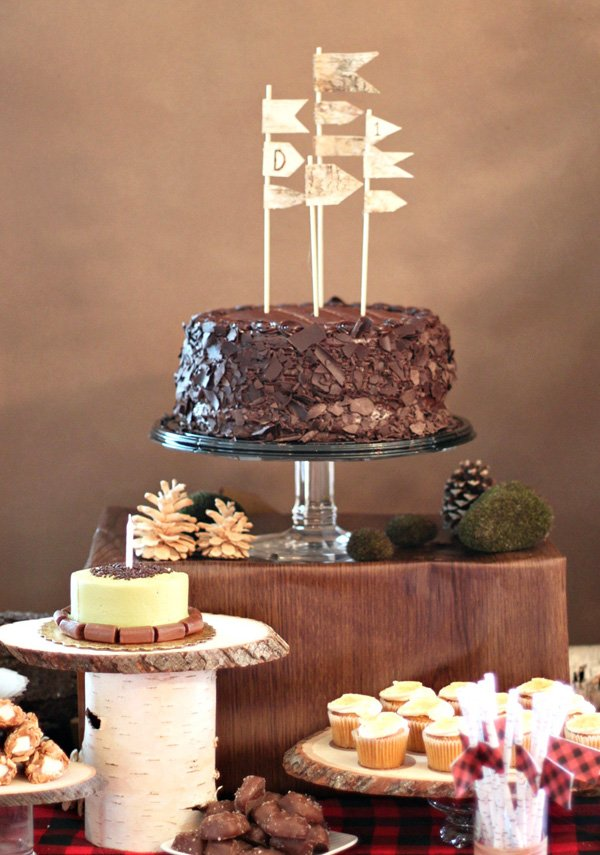 rustic, wooden flag topped chocolate cake