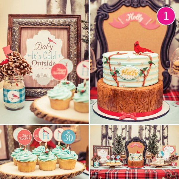 rustic winter cardinal dessert table
