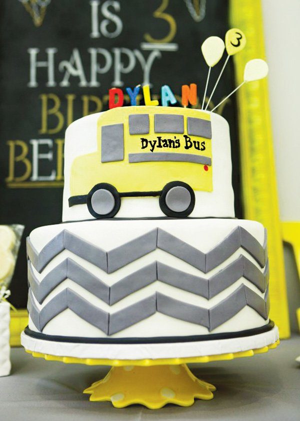 chevron stripes and school bus birthday cake