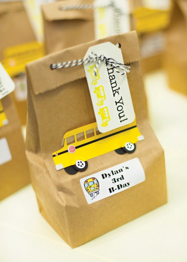 school bus brown paper lunch party favors